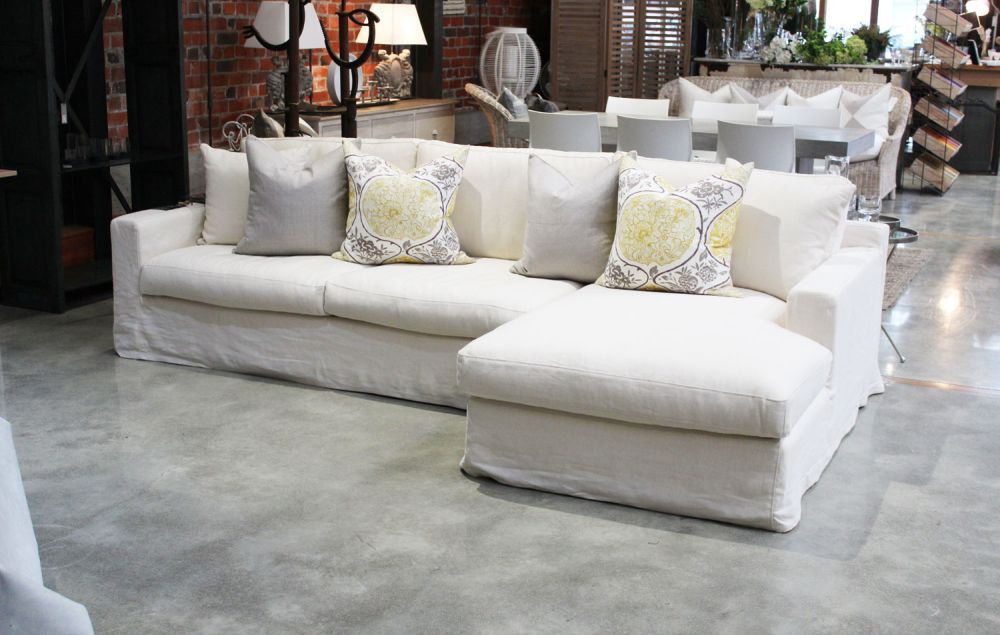 duo linen slipcovered chaise sofa slip covered sofas - offers design for easy to clean style