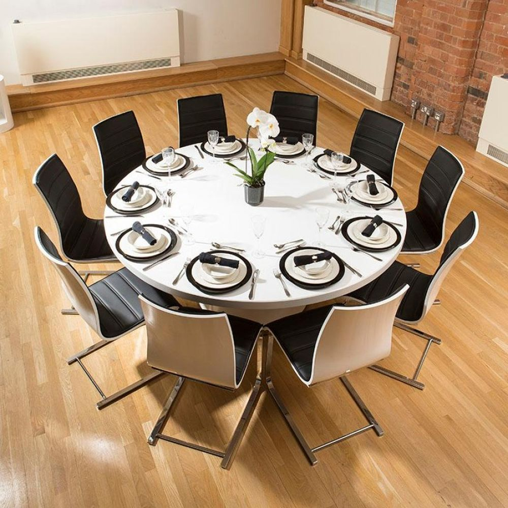 Extra Large Round White Corian Top Dining Table with 10 Dining Chairs Important Things to Consider about Round Dining Table for 8 and 10 Persons