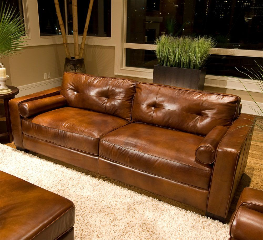 Rustic dim brown leather sofas fantastic expense for warm for Brown furniture living room ideas