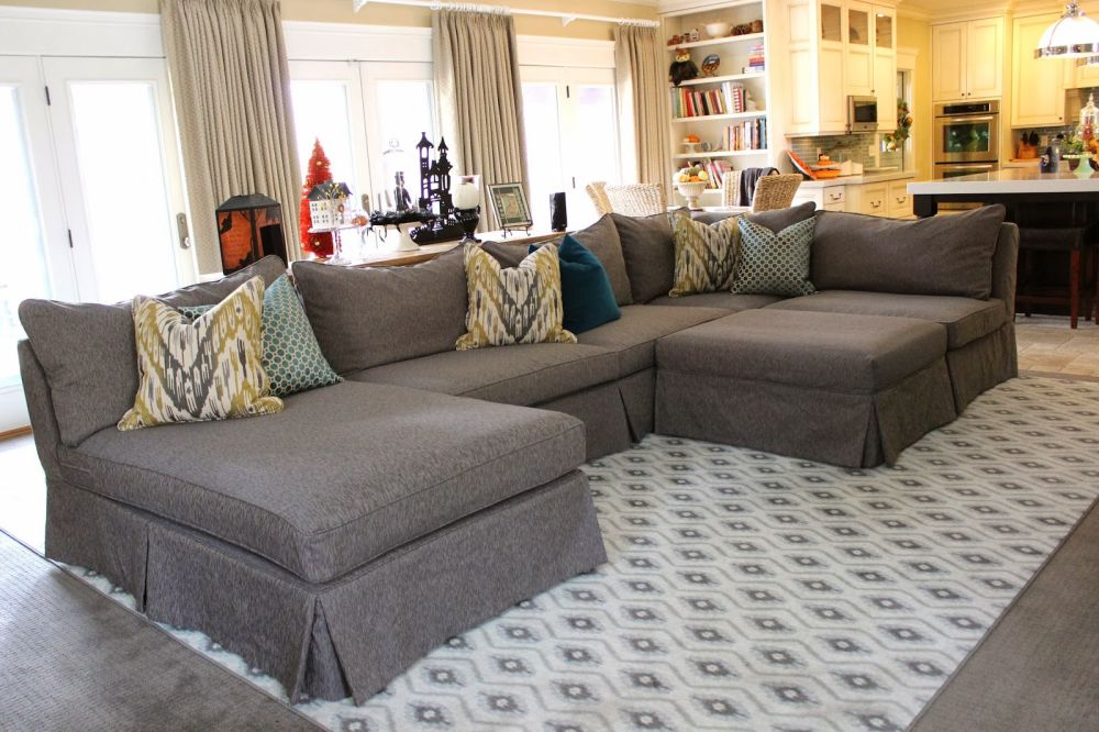 large gray slipcovered sofa with abstract pattern cushion for living room slip covered sofas - offers design for easy to clean style