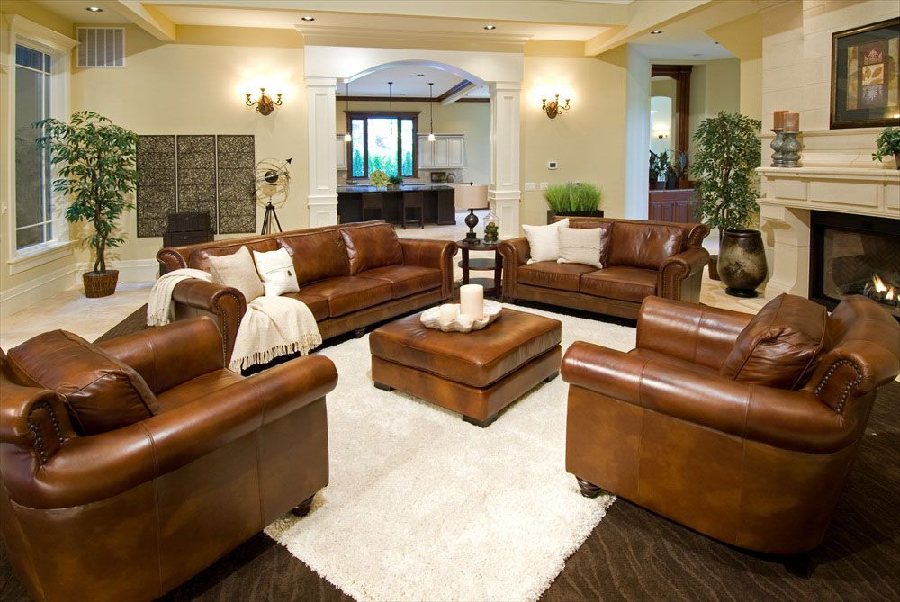 Rustic Dim Brown Leather Sofas Fantastic Expense For Warm