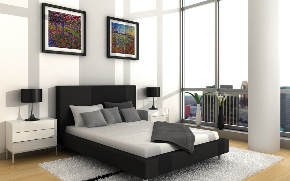 modern bedroom design with white bedside tables plus black bed lamp outstanding side tables for bedroom design