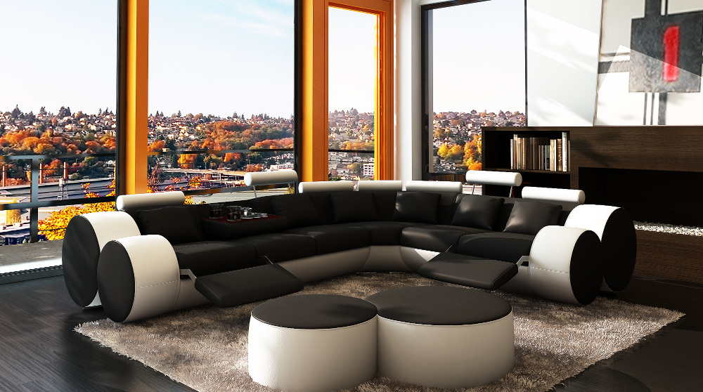 modern sectional sofa with black and white palette plus recliner feature also black upholstery and adjustable headrest awesome sectional sofas with recliners for living room design
