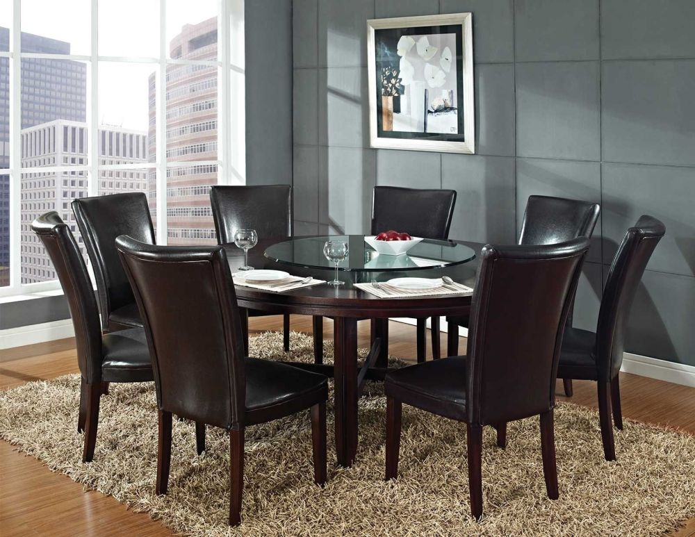 oversized round table with glass top and dark brown wooden frame plus rectangle beige shag rug having round dining room tables for 6 and 8 describing your uninterrupted relationship