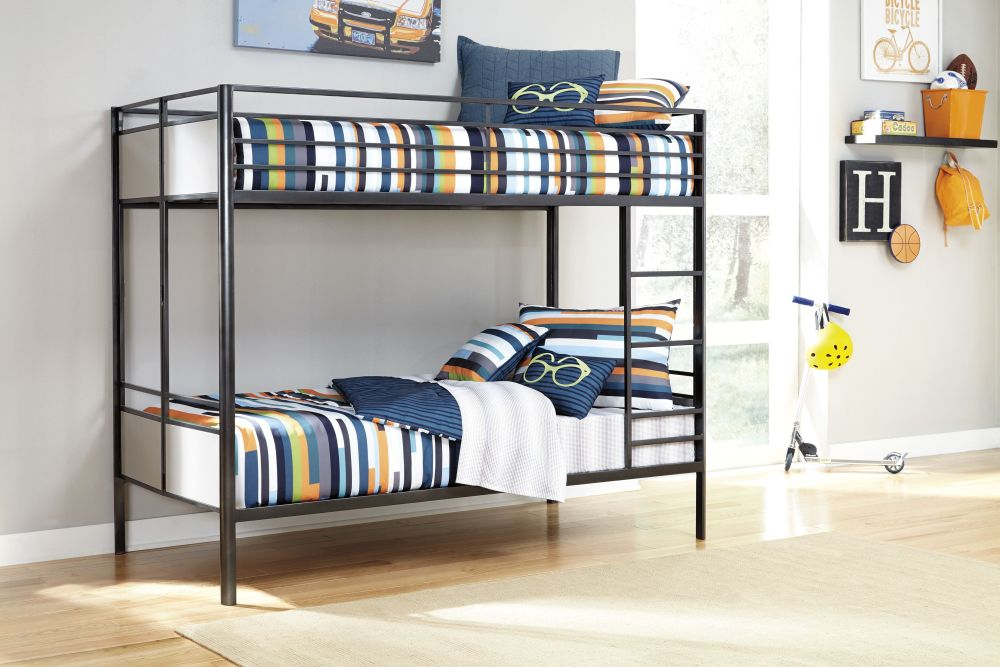seamans furniture with black bunk bed and colorful striped bedding sets seamans furniture offers marvelous home furnishing products