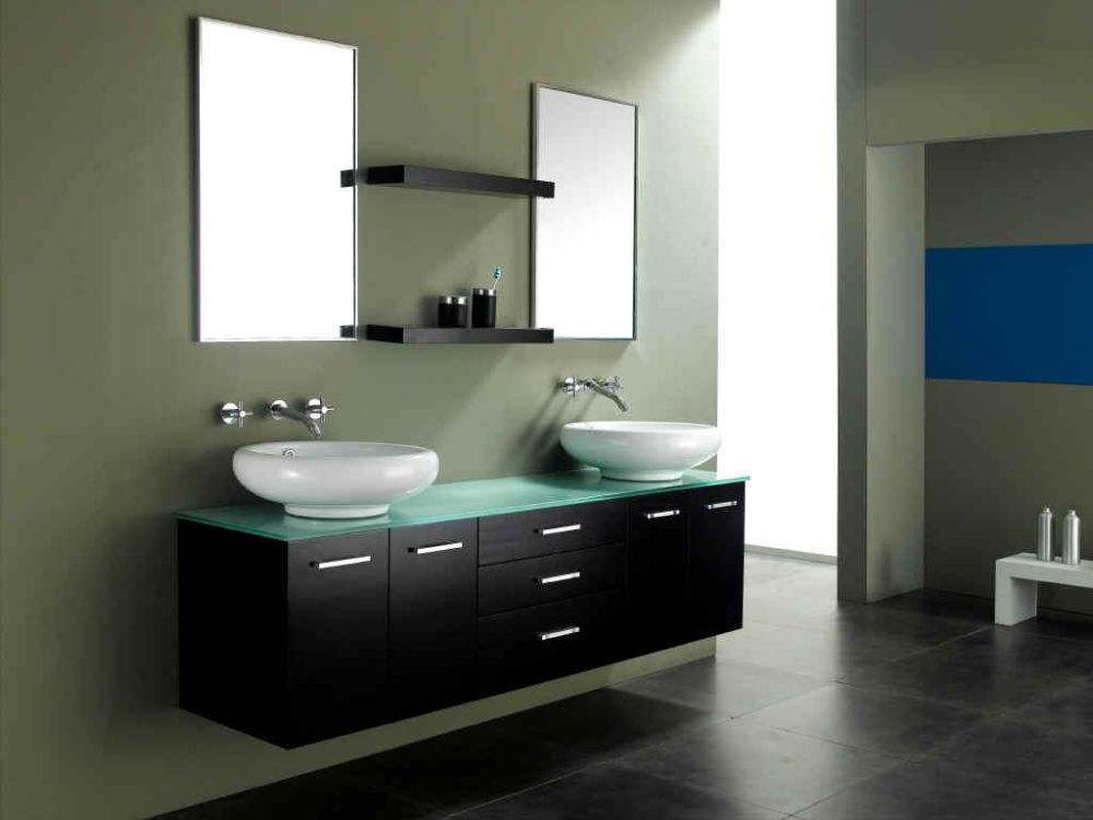 wall mount vanity sink with glass top and two bowl sinks plus metal faucet amazing sink design for small bathroom
