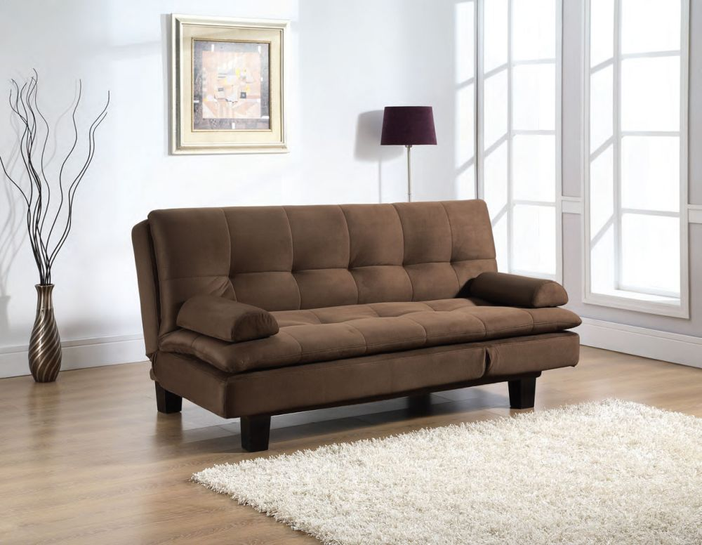 brown sofa bed with simple armrests and tuft pattern on the backrest sofa beds nyc to make your days even more enjoyable