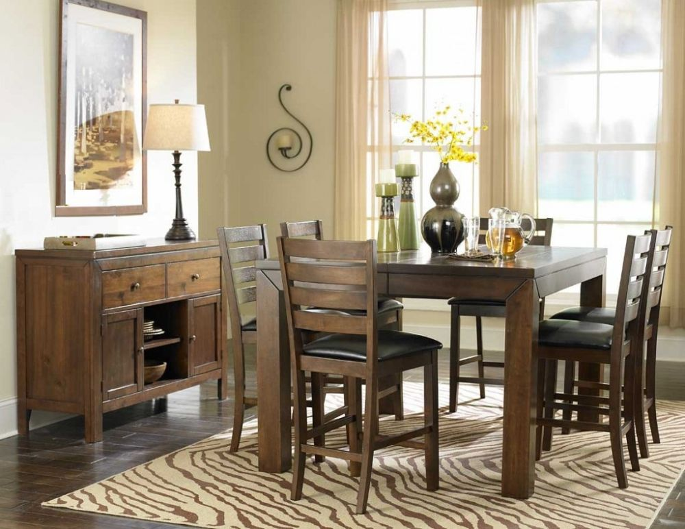 custom beige dining nook for 6 with dark brown wooden table in square shaped maintaining the integrity of the family with solid wood dining room sets