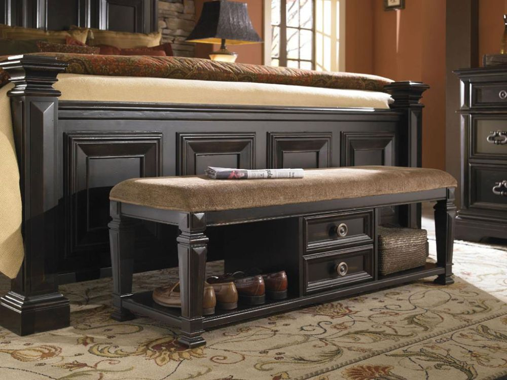 rustic brown bedroom with rectangle storage bench from black molding wood dashing storage bench for bedroom that giving compact outlook and new nuance