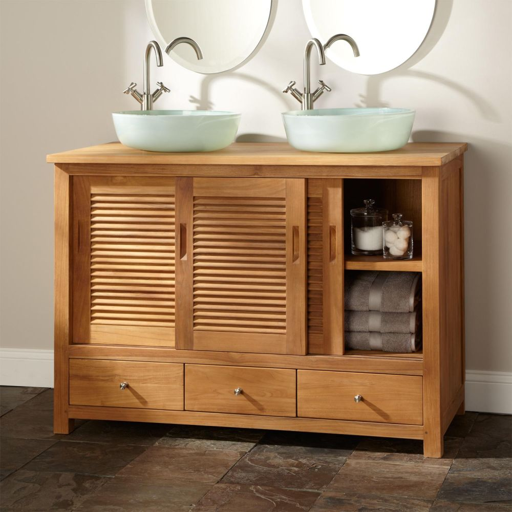 Teak Sink Vanity With Traditional Lines And Sliding Cabinet Doors  Remarkable Teak Bathroom Furniture