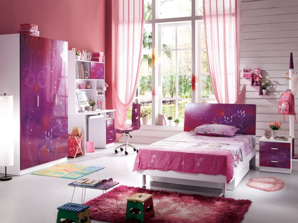 teen girl bedroom furniture set with purple color theme and wide window plus natural light pretty teen girl bedroom furniture designs