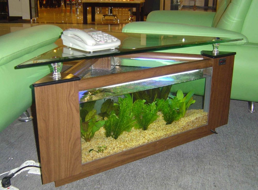 aquascape triangle end table with brown wooden frame and base is filled with fish tank plus glass top decorating living room with triangle end table that exciting for all