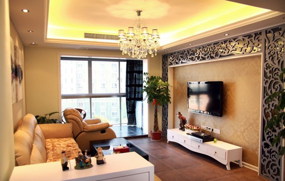 Interior Design Drawing Room Wall : Classy beige living room with wallpaper nice