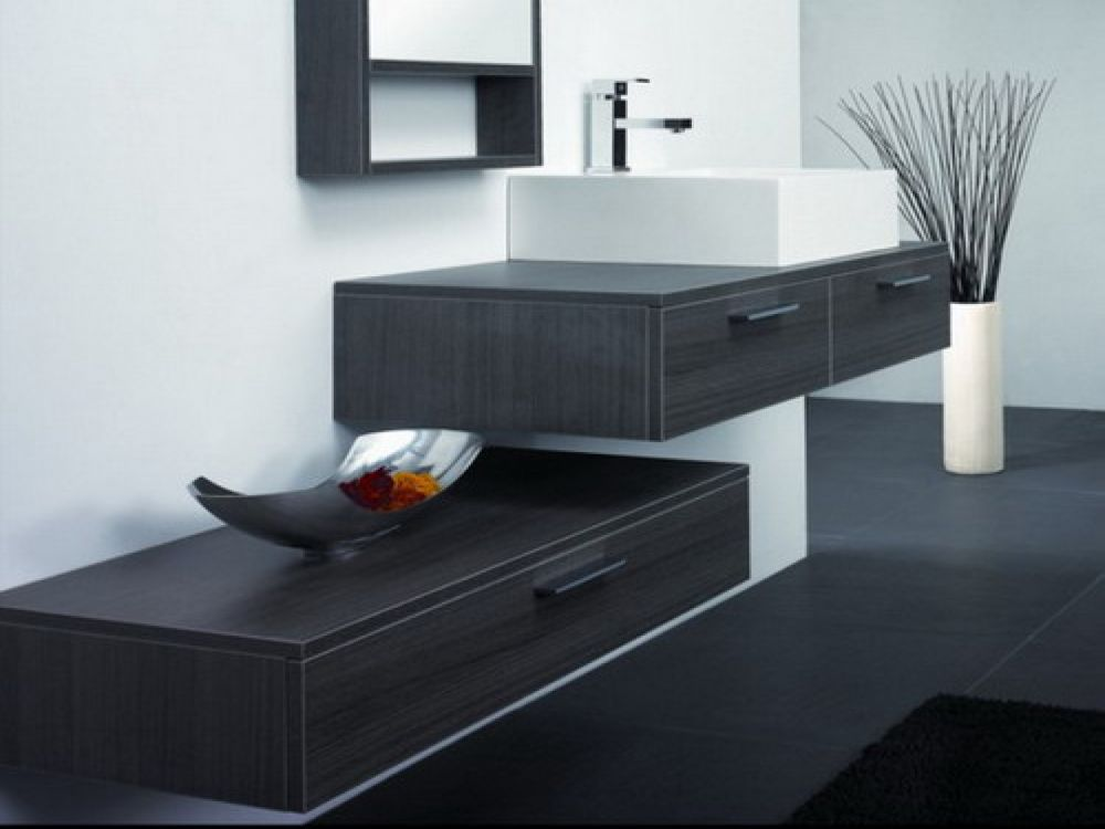contemporary bathroom design with black wooden wall mounted vanity and white sink wall mounted bathroom sink for better bathroom design