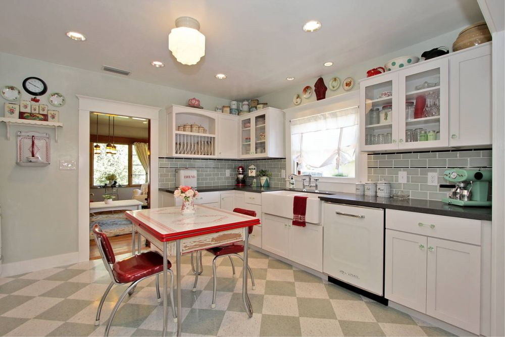 country themed kitchen design with plate decoration on wall and white wooden furniture various themes for kitchen that will open your eyes widely
