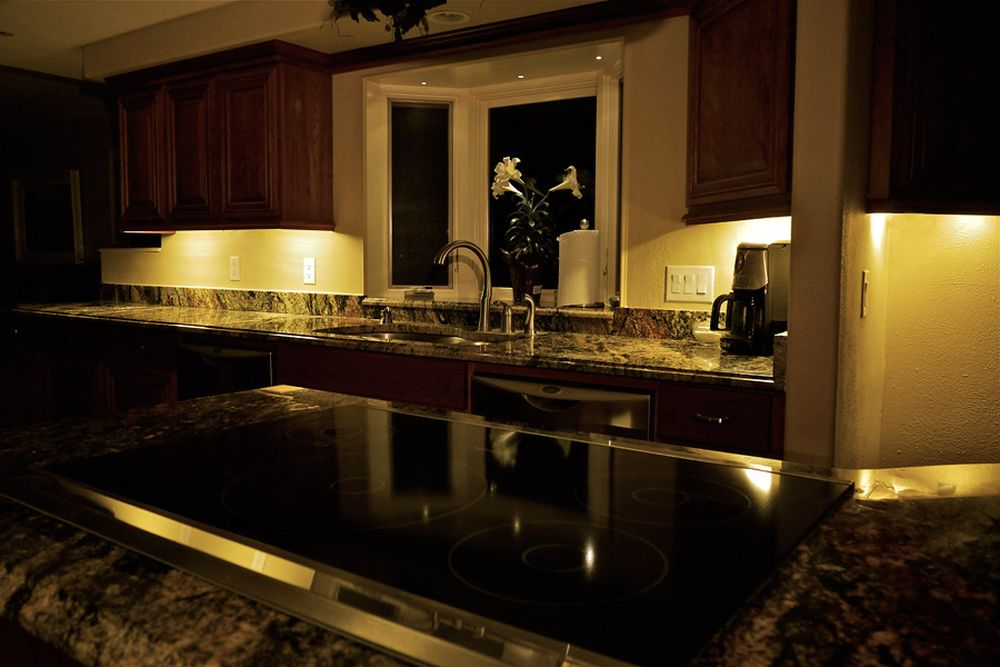 dark kitchen style with the luminous white lights on the brown molding cupboards gives an exotic sense cool under counter lights for spellbind kitchen décor