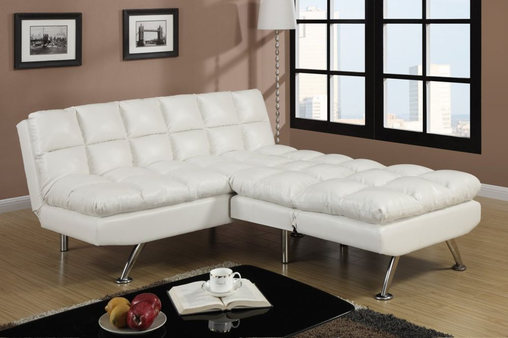 elegant white leather sofa beds with extensive rectangle shape and tiled pads using modern twin size sofa bed ideas for surprising creative space