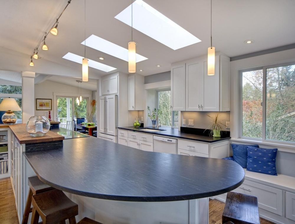 golden stick pendants light and golden bulbs track on the ceiling track lighting for kitchen shows how to shine the vibe perfectly