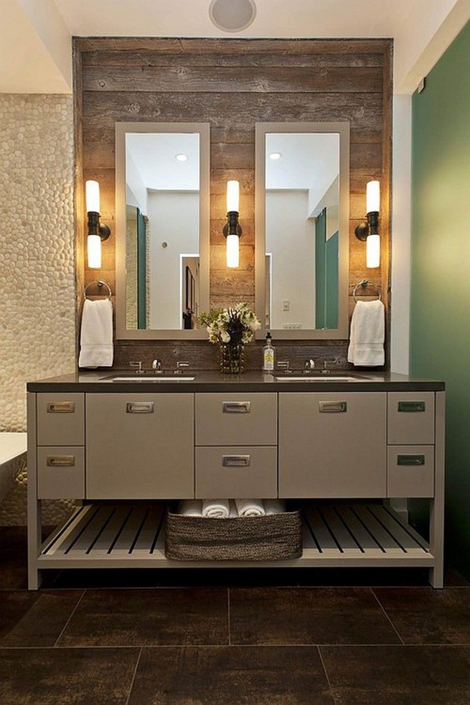 unique bathroom design with extraordinary lightings and wooden vanity plus two mirrors extraordinary and unique bathroom lighting