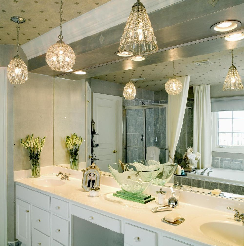 Unique Bathroom Vanity Design with Pendant Lighting Decoration Ideas ...