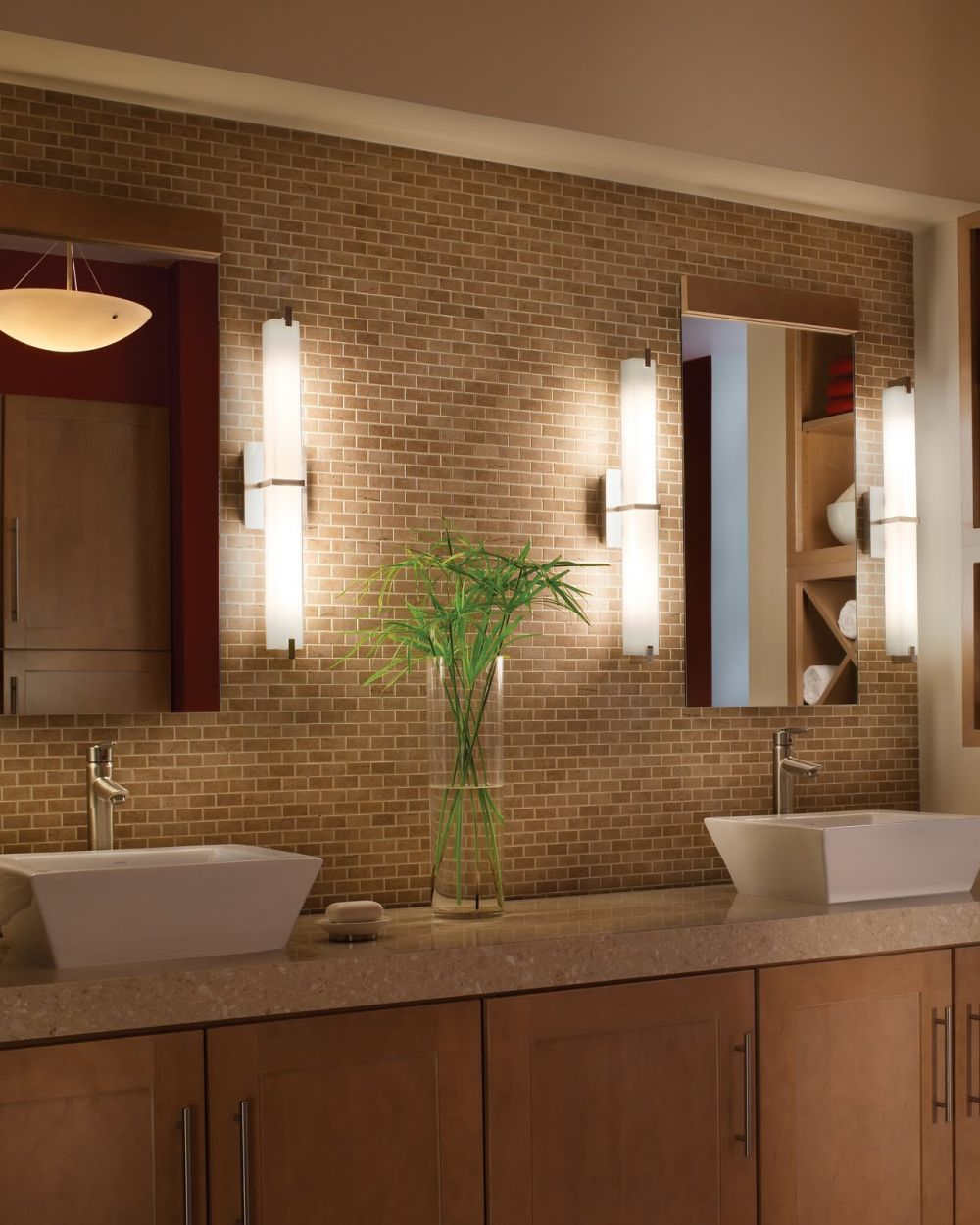unique bathroom wall design with tube shaped in the brick wall and marble countertop with two sinks extraordinary and unique bathroom lighting