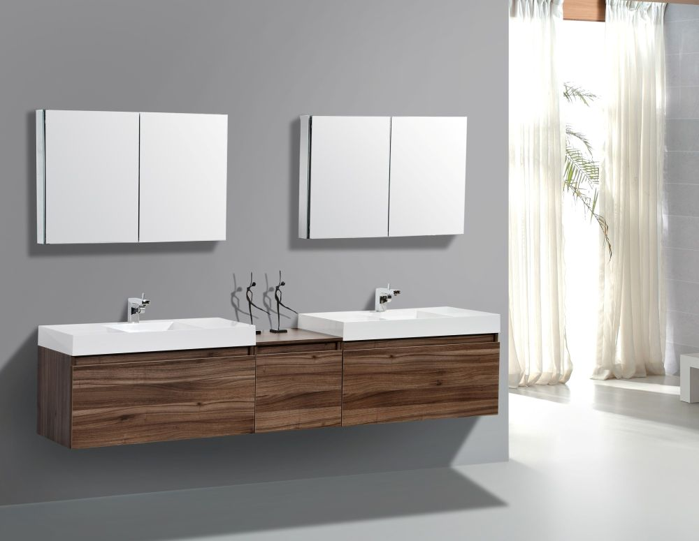 wall mounted double sink bathroom vanity with white porcelain countertop and rectangular mirrors above it wall mounted bathroom sink for better bathroom design