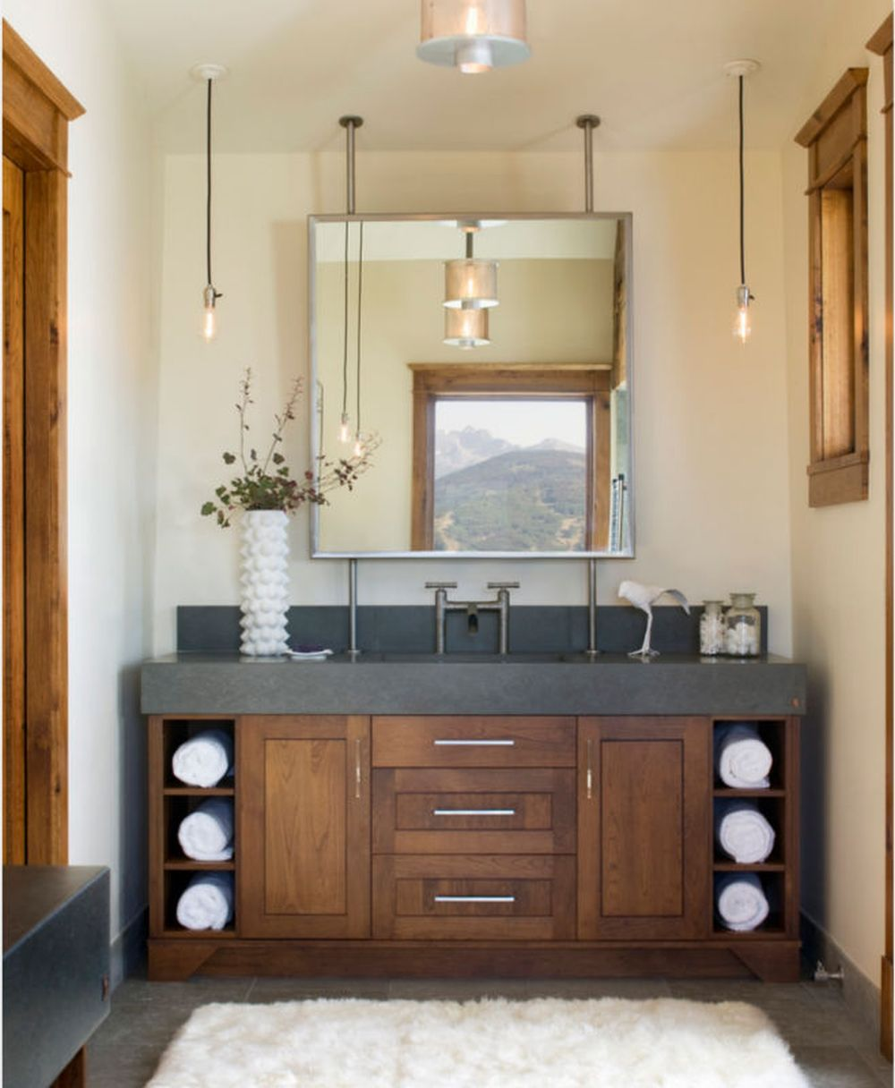 wooden angular used vanity with dark brown finish and concrete countertop outstanding used vanity for bathroom design