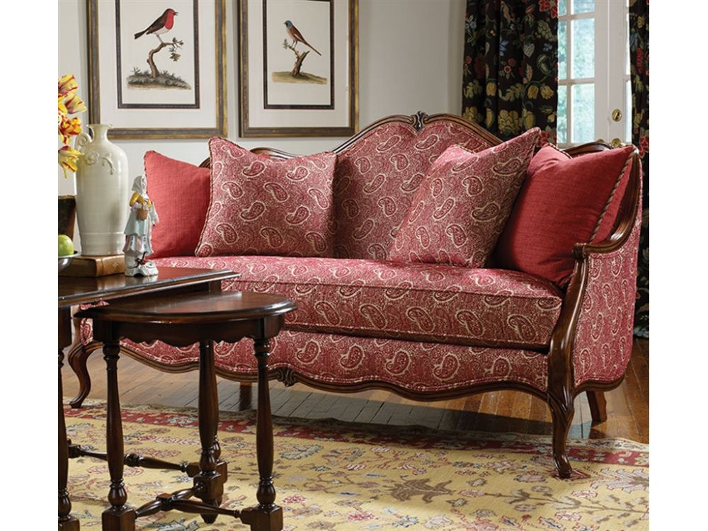chic retro pattern french sofa furniture with carved brown wooden frame feeling the tranquil of life in the fascinating french country sofa