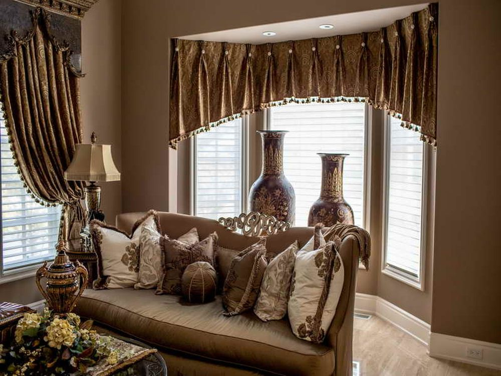 classy window treatment for living room with small golden curtain wonderful living room design with nice window treatment
