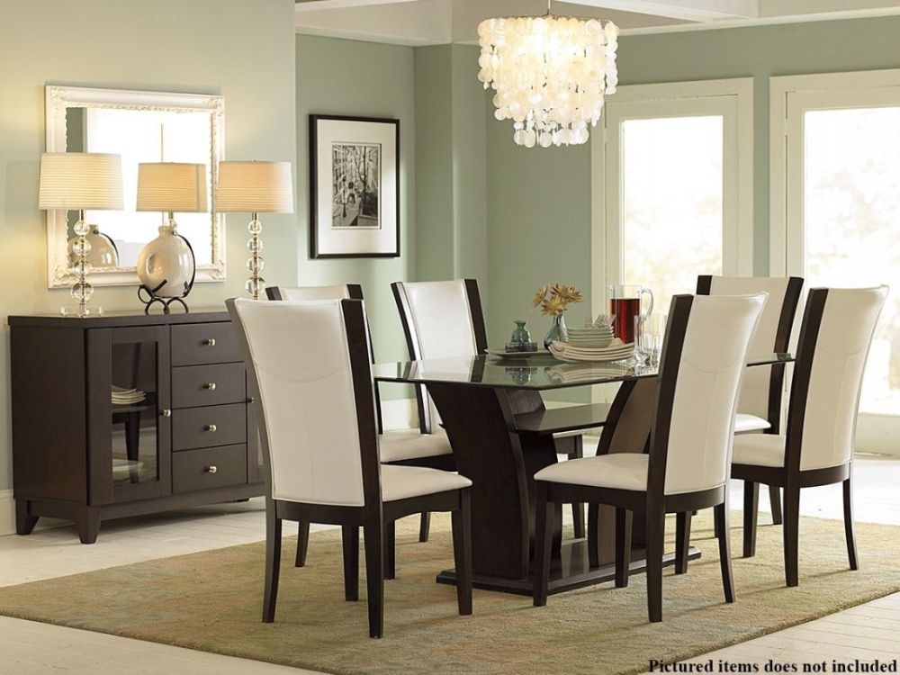 dark wood and black glass dining table with white upholstered chairs beautiful wood and glass dining table