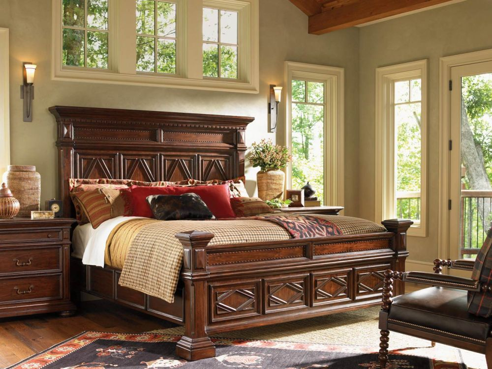 Elegant Lexington Bedroom Furniture Sets In Dark Brown Finish With