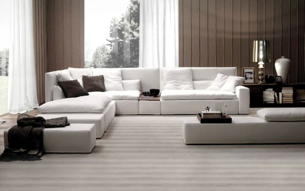 modern living room design with white long sofa and comfortable upholster, loveseat and also cushion plus extended chaise presenting best interior design with extra long sofa