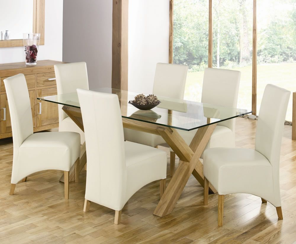 rectangular glass top dining table with wood base and white chairs that look great beautiful wood and glass dining table