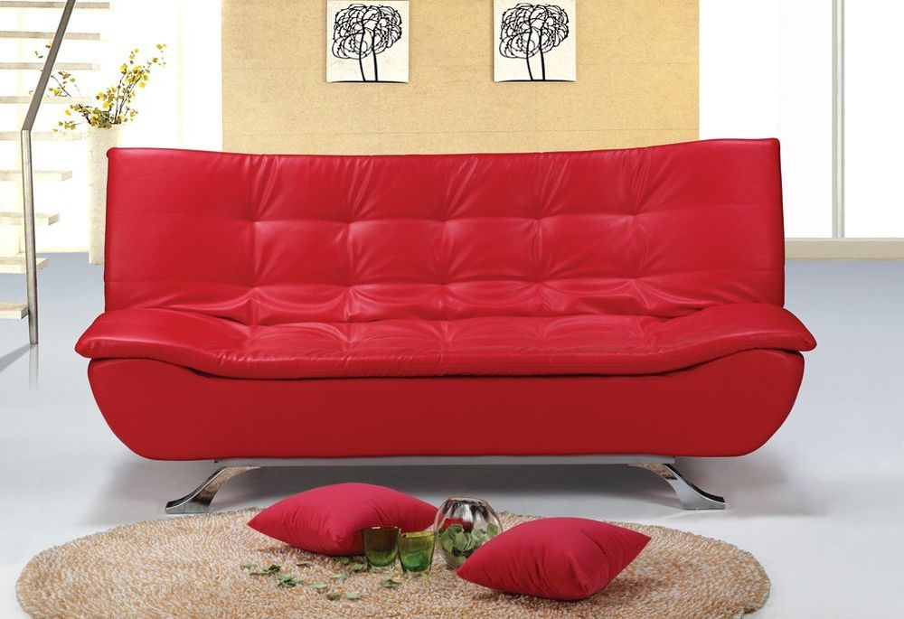 Red Leather Tufted Queen Sofa Bed Sheets Design In