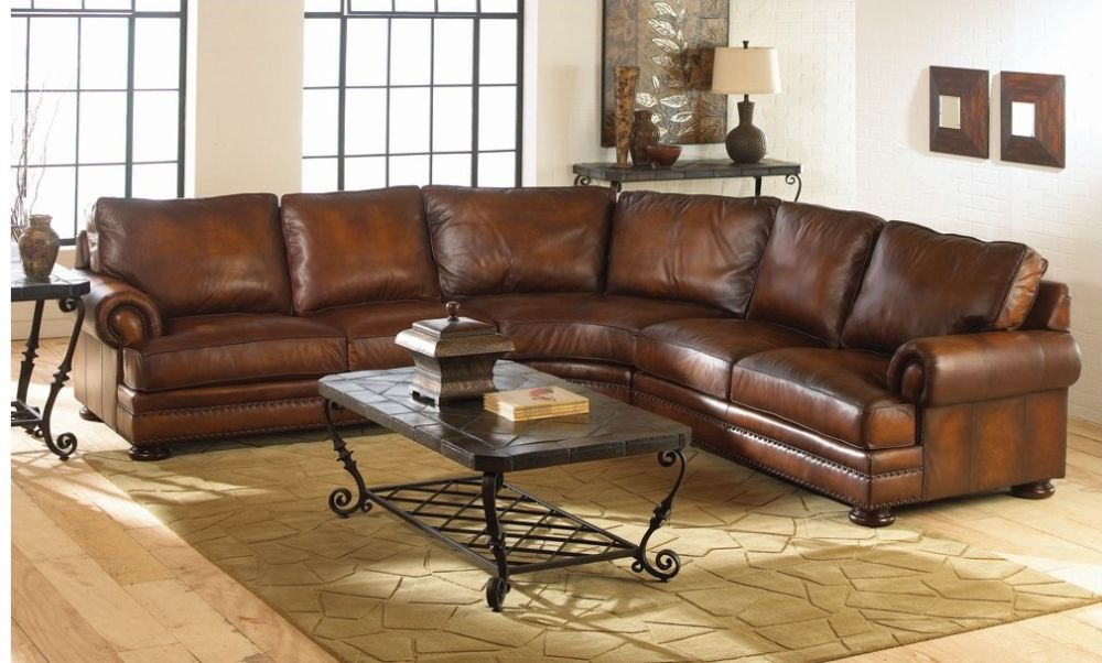 traditional distressed brown leather sofa in curvy sectional shape with dark wrought iron tables and shelves : distressed leather sectional couch - Sectionals, Sofas & Couches