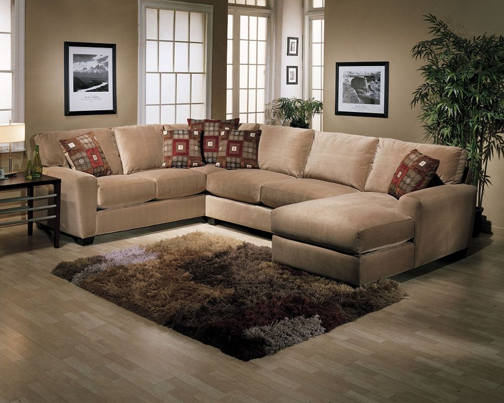 traditional u shaped beige velvet sectional sofa with stunning fluffy rug for the small living room creating warm soul for everyone with u shaped sectional sofa
