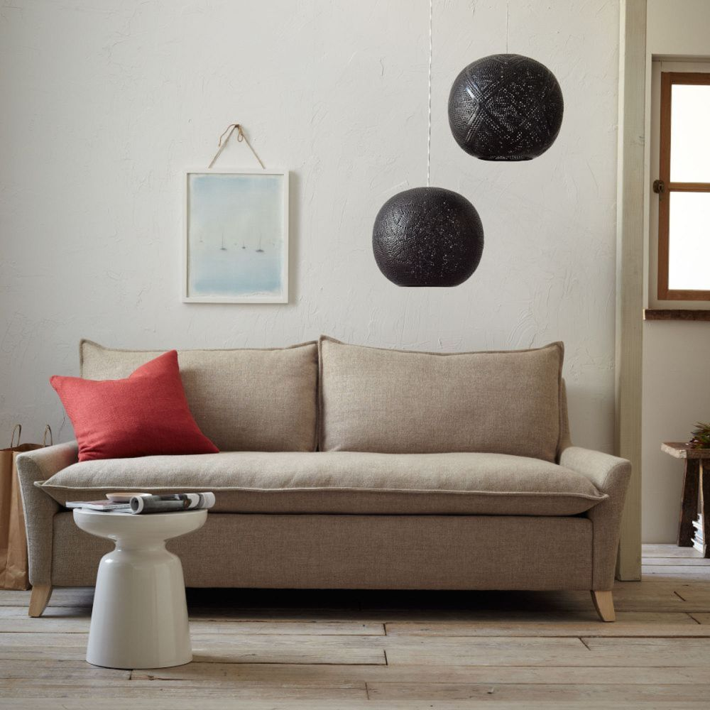 west elm bliss down filled sofa with red pillow how to play fashionably with down filled sofa design living room