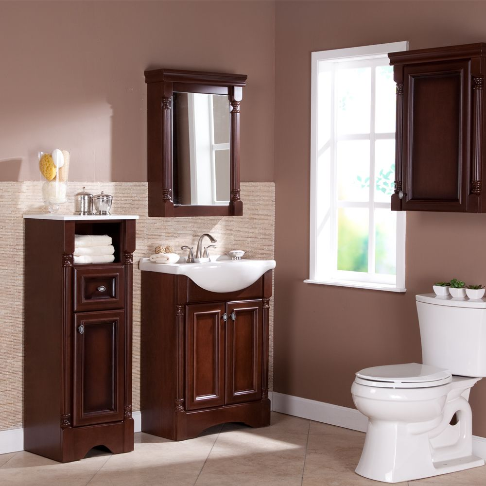 Bathroom Vanities With Matching Linen Cabinet And Framed Mirror