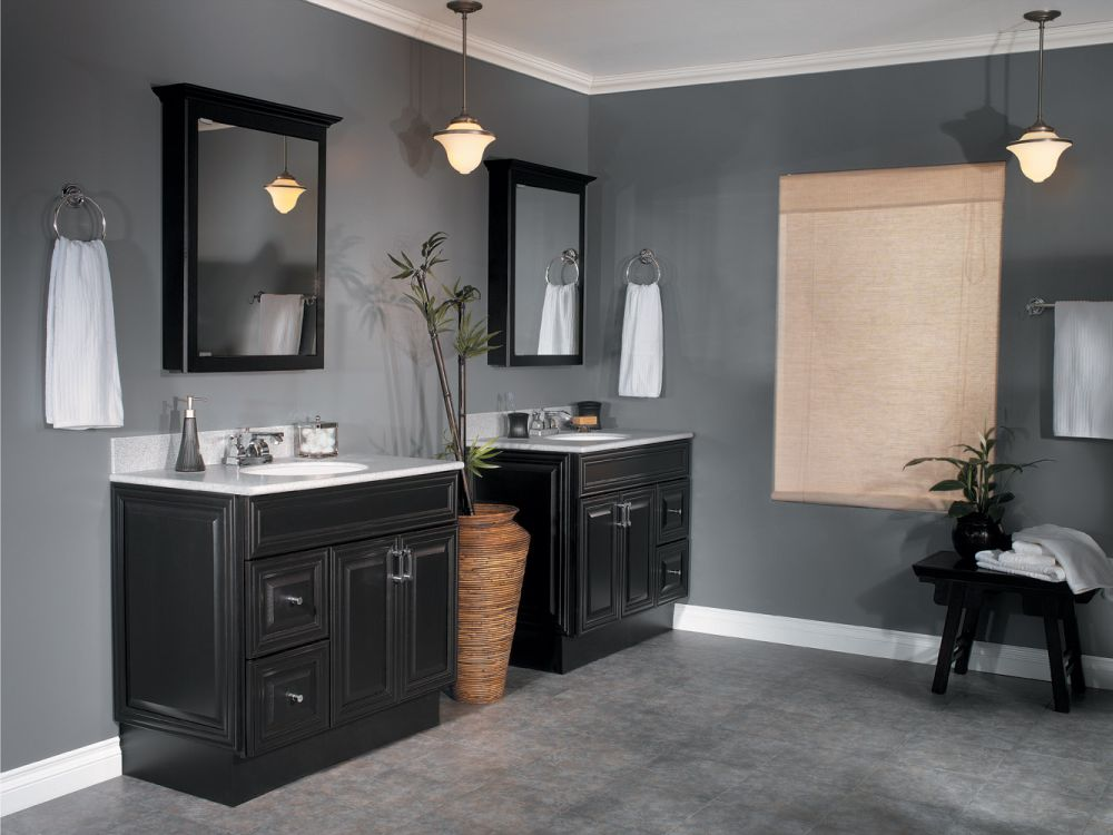 black lowes bathroom vanities linen cabinets with square mirror fill your simple bathroom with base cabinet for function and style