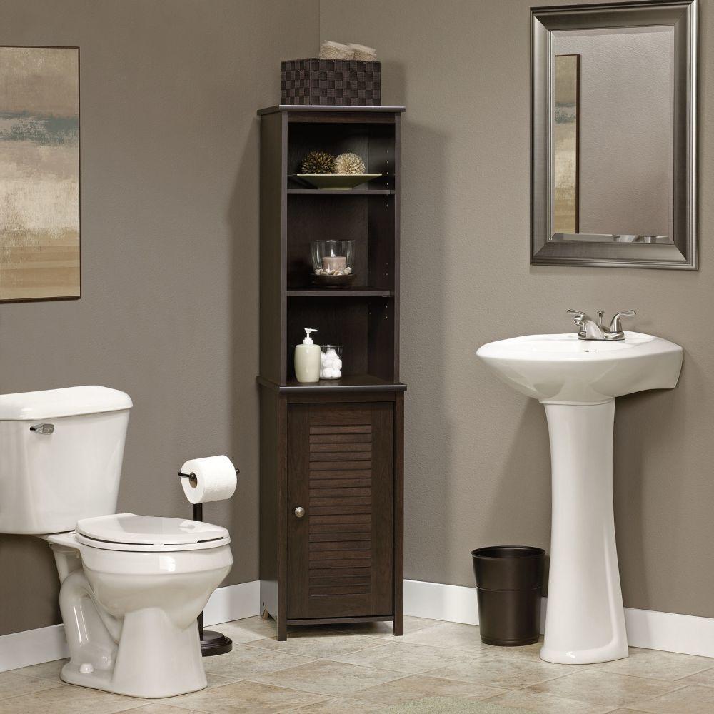 black wooden corner linen towers for bathrooms design with open slots bathroom linen tower – space saver storage idea