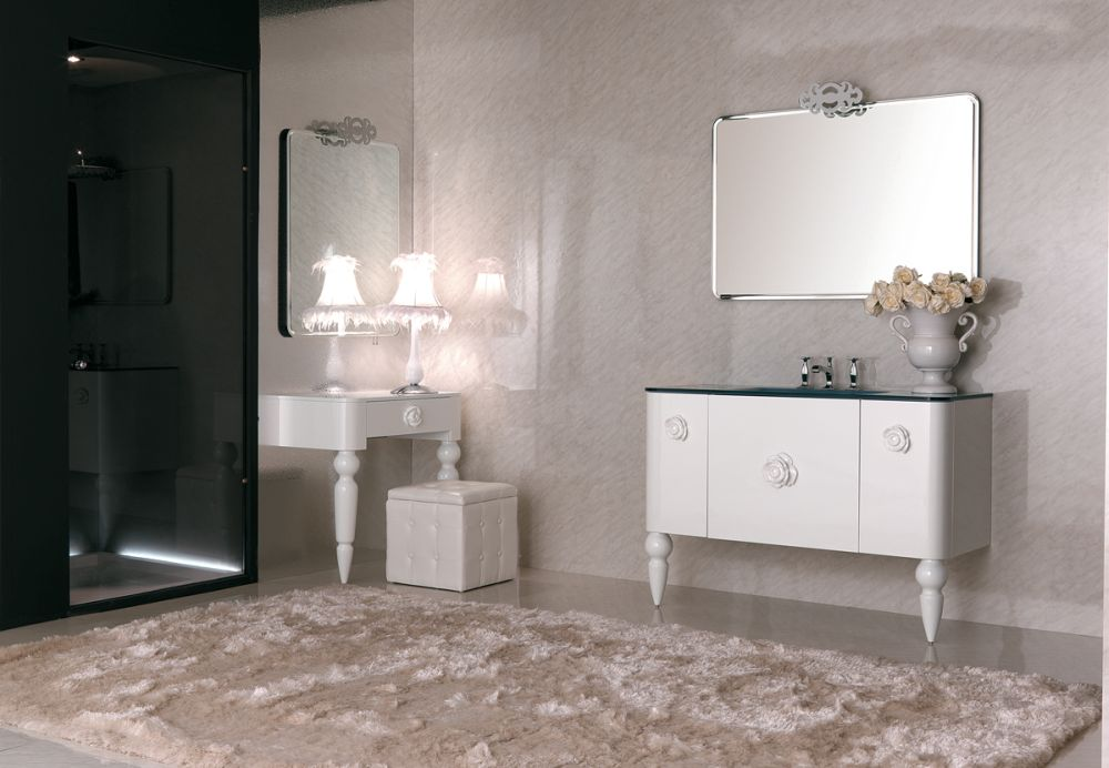 cool white scandinavian bathroom design with luxurious furry rug adding large bathroom rugs for wide and posh interior look