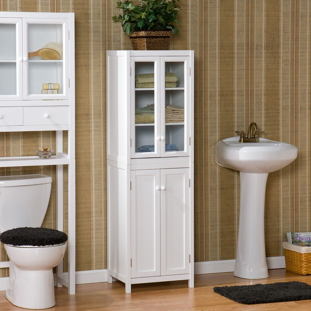 vintage white linen tower storage idea shares the nuance f playfulness in simple design bathroom linen tower – space saver storage idea