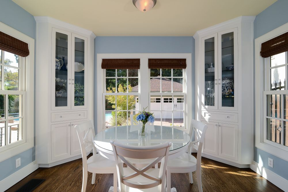 astounding window on the light blue wall for the fresh dining area. chic window jamb designs giving the perfect atmosphere