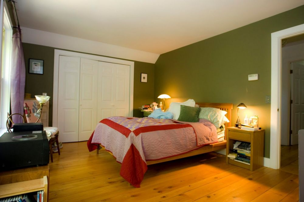 neutral small bedroom design with cherry wood planks and green tone wall impressive wall colors for bedrooms