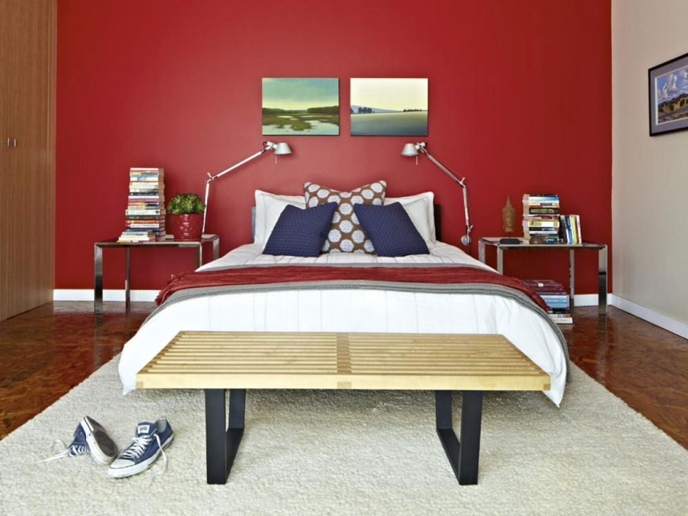 nice teenage bedroom interior with metal bedframe and red tone wall color impressive wall colors for bedrooms