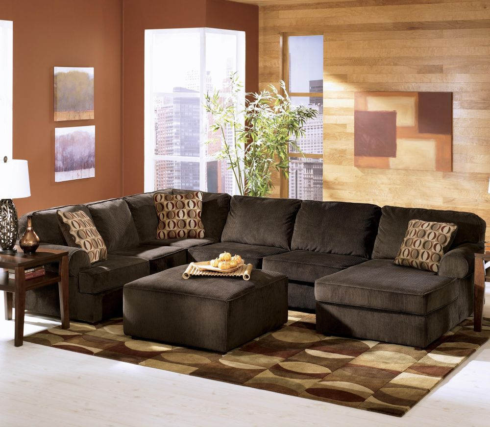 wayside furniture sectional sofa - ashley furniture vista - chocolate casual 3-piece sectional with left chaise best sofas from wayside furniture outlet living room