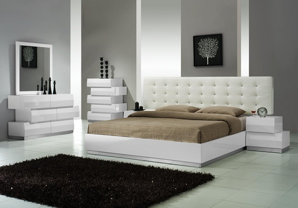 J&M Bedroom Furniture - Milan Modern Bedroom White Lackered