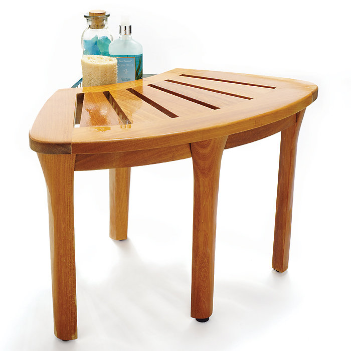 Teak Bathroom Furniture Corner Bath Stool