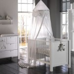White Nursery Furniture Sets with Transparent Canopy Bed