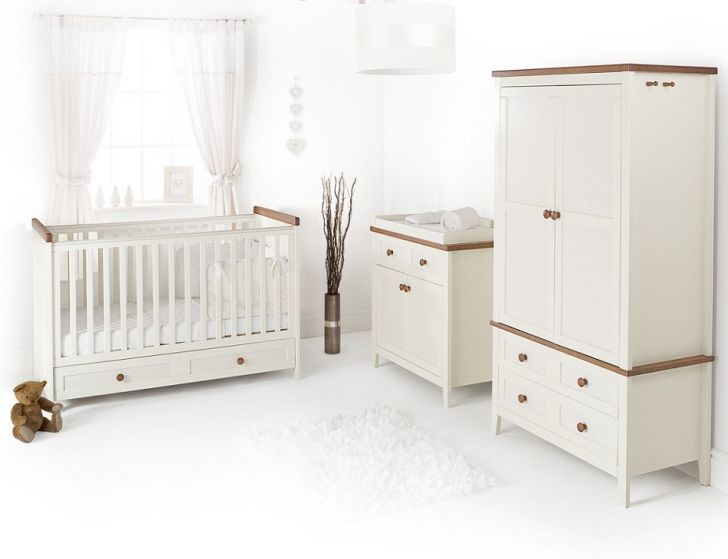 White Nursery Furniture Sets with White Rug and Bright Lighting